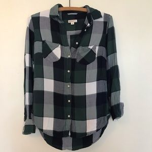 Merona green blue and white plaid flannel